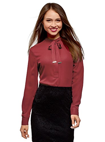 oodji Collection Women's Relaxed-Fit Blouse with Drawstrings, Red, -