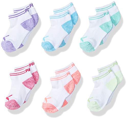 PUMA Big Girls' 6 Pack Low Cut Socks, white/light blue, 9-11