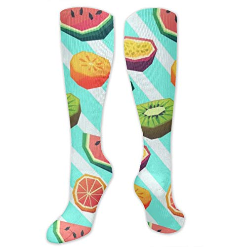 Fruit Square Polyester Cotton Over Knee Leg High Socks Graphic Unisex Thigh Stockings Cosplay Boot Long Tube Socks for Sports Gym Yoga Hiking Cycling Running Nurses
