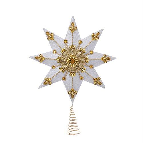 Kurt S. Adler 12.5'' 8-Point White and Gold Treetop by Kurt Adler