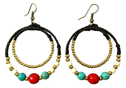 Victorian Era Movie Costumes (Bijoux De Ja Handmade Tribal 3 Tone Howlite Round Beads Drop Dangling Earrings)