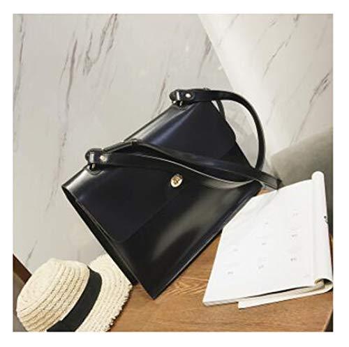 Retro Fashion Female Big Bag PU Leather Women's Designer Handbag Ladies Briefcase Tote Black 36 X 10 X 27 CM