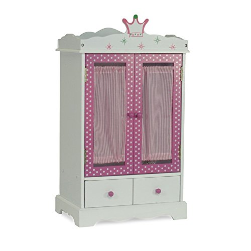 18 Inch Doll Closet Wish Crown | Doll Clothes Storage Furniture Armoire | Fits 18