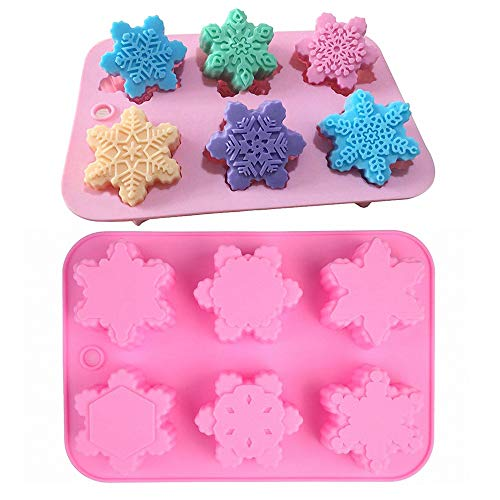 MoldFun 2Pcs 6 Different Snowflake Shaped Silicone Molds Set for Making Large Soap Bath Bombs Lotion Bars Chocolate Candy Gummy Baking Cake Jello Jelly Wax Crayon Melt Plaster Ice Cube Tray