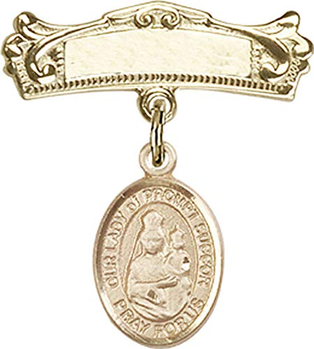 14kt Gold Baby Badge with O/L of Prompt Succor Charm and Arched Polished Badge Pin O/L of Prompt Succor is the Patron Saint of New Orleans, LA 7/8 X 3/4 ()