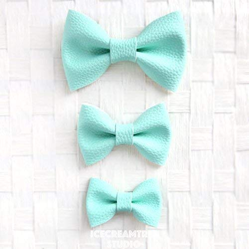 Faux Leather Aqua Mint - Bow Tie Collar Slide On, Collar Add On Bowtie, Bow Collar Accessories