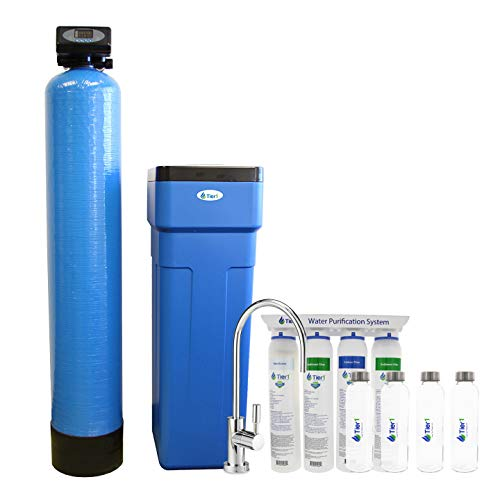 Tier1 Compatible 48,000 Grain Capacity Water Softener + 4-Stage Ultra-Filtration Hollow Fiber Drinking Water Filter System with 4 Glass Water Bottles and a 10 Panel Water Test Kit