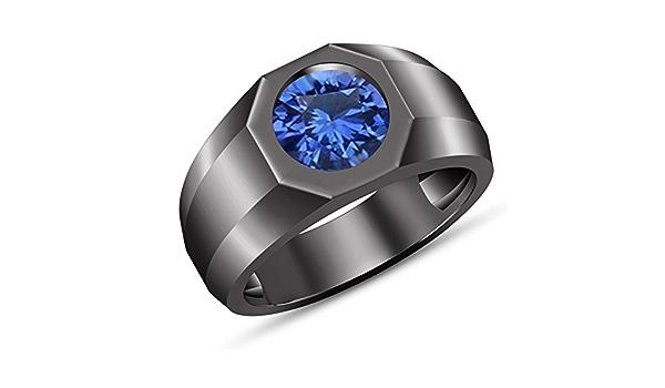 Bling Jewelry .50Ct Redondo Solitario Simulada De Azul Zafiro CZ Mens Anillo De Compromiso Anillo De Plata Esterlina 925 para Hombres