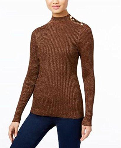 Metallic Ribbed Sweater - INC Womens Ribbed Knit Metallic Mock Turtleneck Sweater Bronze M