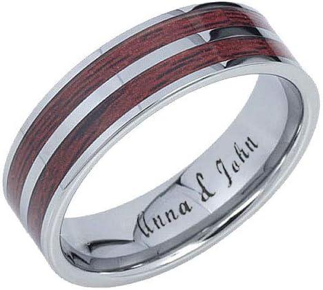 Custom Engraving Ring Size 7 to 13 8mm Tungsten Carbide Black Fiber Inlay Cubic Zirconia Ring