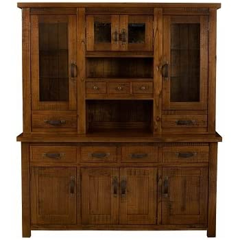"""Hillsdale Furniture 4321BH Outback 79.2"""" Buffet and Hutch with 9 Drawers 8 Doors and Acacia Wood Construction in Distressed Chestnut"""