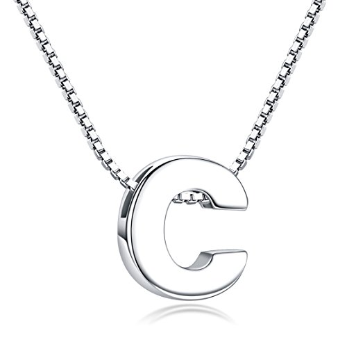 Candyfancy C Initial Necklace 925 Sterling Silver Alphabet Personalized A-Z Letter Pendant Necklace for Women Girls Gift with 18