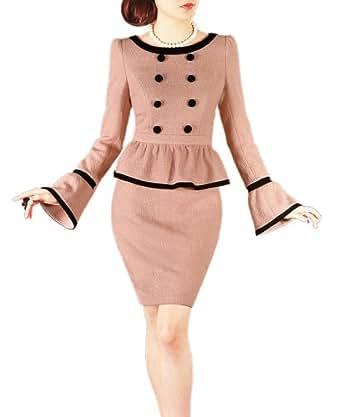 Purpura Erizo Womens Optical Illusion 2 Piece Set Pink Wool Peplum Dress (XXX-Large, Pink)