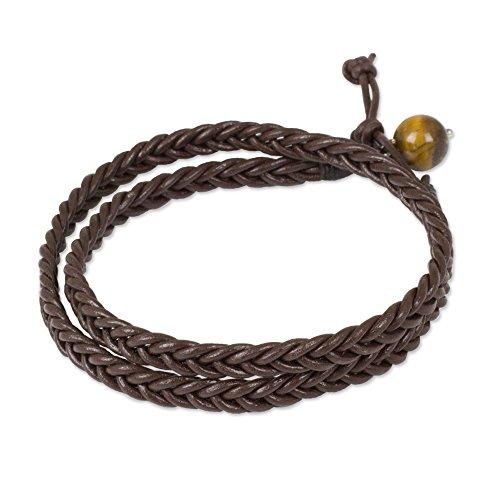 - NOVICA Tigers Eye Leather Wrap Bracelet 'Double Chocolate'