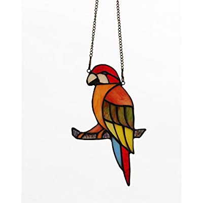 Makenier Tiffany Style Stained Glass Red Parrot Window Hanging Sun Catcher : Garden & Outdoor