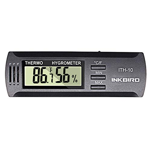Inkbird Hygrometer Thermometer Dc 3V Input Digital Temperature Humidity Meter Gauge °F/°C Monitor Indoor ITH-10 for Cigar Humidor Reptile Terrarium Incubator Greenhouse Basement Guitar (Best Digital Hygrometer For Humidor)