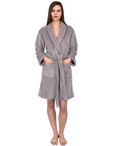 TowelSelections Women's Robe, Plush Fleece Short Spa Bathrobe Medium Silver