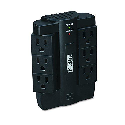 Tripp Lite 6 Rotatable Outlet Surge Protector Power Strip, Black, Lifetime Limited Warranty & $20,000 Insurance (SWIVEL6)