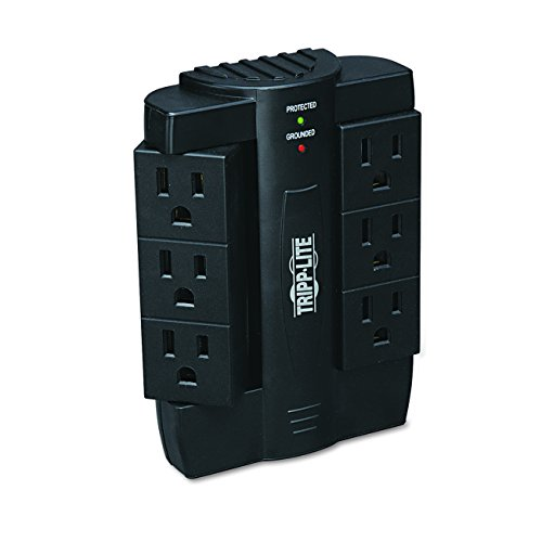 Tripp Lite 6 Rotatable Outlet Surge Protector Power Strip, Black, Lifetime Limited Warranty & $20,000 INSURANCE (1 Outlet Wall Mount)