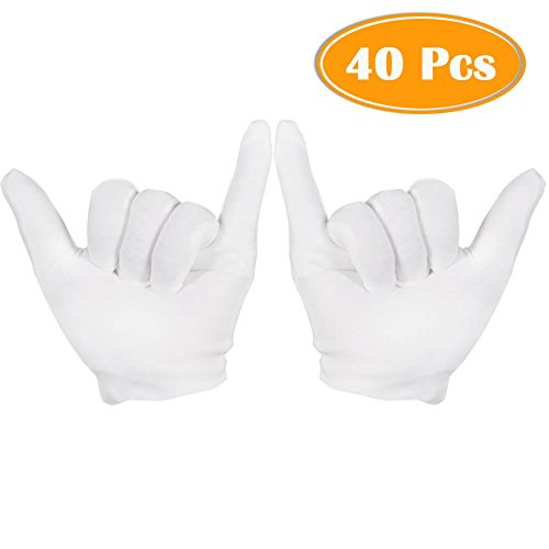 (Paxcoo 20 Pairs Medium White Cotton Gloves for Cosmetic Moisturizing and Coin Inspection)