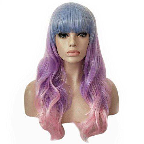 Women Long Cosplay Wigs,Curly Wavy Synthetic Wigs With Flat Bangs,Ladies Human False Hair,Cosplay Party Hairpieces Heat Resistant -