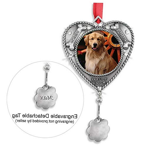 Mikash Dog Ornament - Pet Memorial Picture Christmas Ornament - Engravable Charm Included to Personalize - Loss of a Dog Keepsake | Model MMRLD - 519 | 4.5