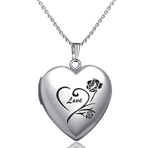 YOUFENG Love Heart Locket Necklace That Holds Pictures Engraved Always in My Heart Memories Photo Lockets (Flower love locket) by YOUFENG