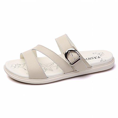 Abbinate Semplici da di Moda Tutte pelle All'Abbigliamento Sandali Comode Donna Pantofole in Pelle YTTY bufalo qC4YZwx