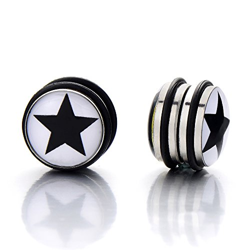 Magnetic Black Circle Earrings Non piercing