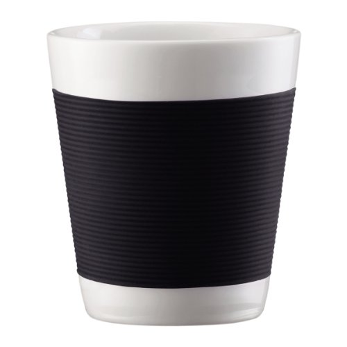 - Bodum Canteen Porcelain Double Wall Espresso Cup with Silicone Grip, Black, Set of 2