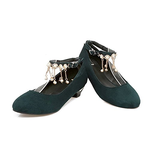 BalaMasa Womens Charms Buckle Solid Round-Toe Suede Pumps Shoes Green PSk3Js