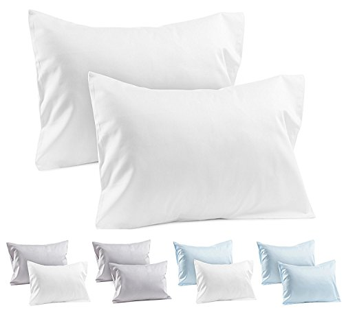 (2 White Toddler Pillowcases - Envelope Style - 100% Cotton 400 TC Soft Sateen Weave - For Travel Pillows 14x19 or 13x18 - Toddler Pillow Cases White Toddler Pillowcase Covers Kids Travel Pillow Cases)
