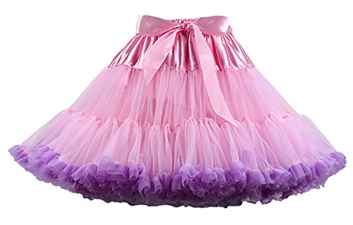 (FOLOBE Women's Soft Puffy Tulle Petticoat Costume Ballet Dance Short Tutu Skirts Multi-Layer Pink purle L)