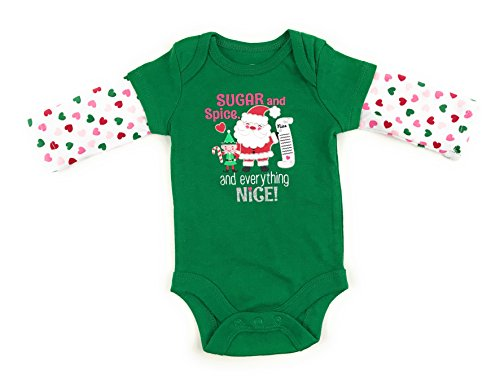 Assorted Santa, Ugly Sweater, Reindeer, Elf, Mistletoe Baby Boys & Girls Christmas Bodysuit Dress Up Outfit (Sugar, Spice, Nice List, 3-6 Months)