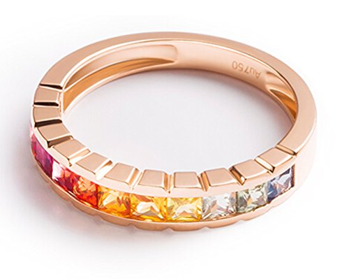 18K Gold Ring,1.2Ct Square Cut Certified Diamond Colorful Sapphire Ruby Promise Ring for Women Size 8 by Epinki (Image #1)