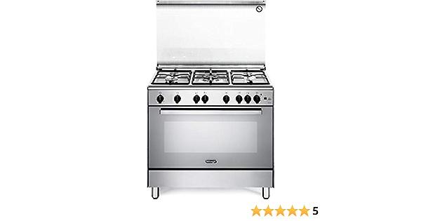 De Longhi DGVX 96 ED - Cocina de gas con horno de gas ventilado, 5 fuegos, 90 x 60 cm, color inoxidable