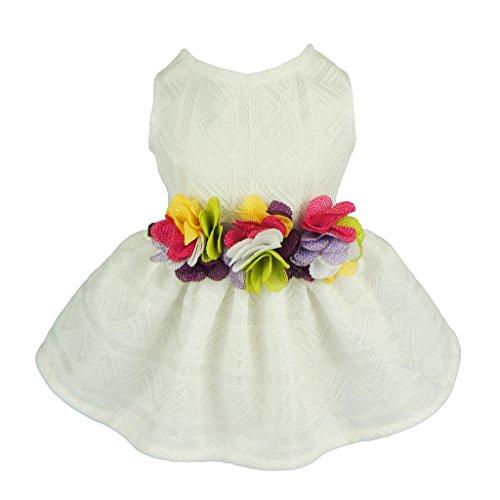 Fitwarm Elegant Floral Dog Sundress Pet Wedding Dress Vest Shirts Cat Clothes, White, Small