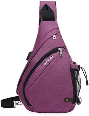 24ce14f9fa0959 GUCHIS Sling Backpack Chest Pack Shoulder Crossbody Bag Travel Hiking  Daypack with USB Charging Port for