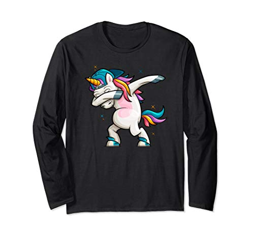 Cartoon Unicorn Dabbing Long Sleeve T-Shirt (Best Dance Moves Ever Hip Hop)