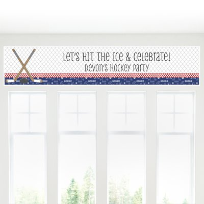 Big Dot of Happiness Custom Shoots & Scores! - Hockey - Personalized Baby Shower or Birthday Party Decorations Party Banner