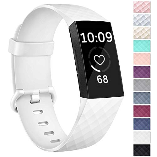 Vancle Bands Compatible with Fitbit Charge 3 Bands Rose Gold Replacement Charge 3 SE Sports Wristbands Small Large for Women Men (White, Large)