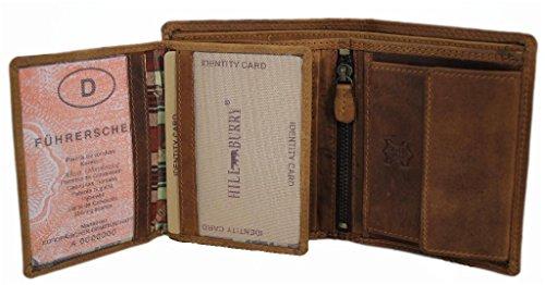 6c0721d4a8098 Herren Leder Geldbörse geräumiges Portemonnaie Vintage Geldbeutel Portmonee  mit Münzfach aus Echt-Leder Hochformat Hill Burry braun 6401S  Amazon.de   Koffer ...