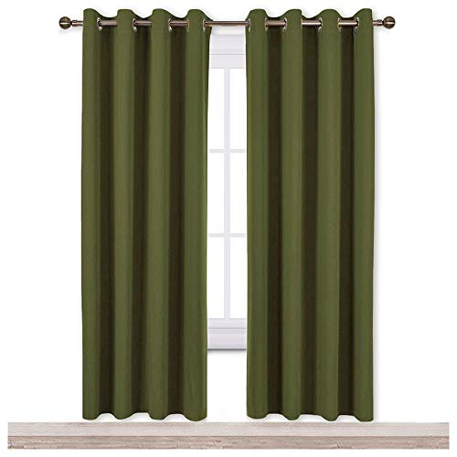 NICETOWN Blackout Curtains for Girls Room - Thermal Insulated Solid Grommet Room Darkening Curtains/Panels/Drape for Bedroom (Olive Green, One Pair, 52 by 72-Inch) ()
