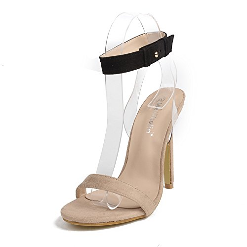 Women Heeled Sandals Ankle Strap Dress Sandals Stilettos Open Toe High Heel for Wedding Party Evening Shoes Beige