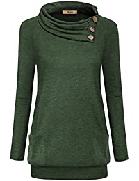 Womens Raglan Long Sleeve Cowl Neck Pullover Casual Tunic...