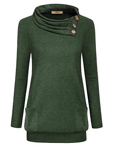 Miusey Fall Clothes For Women, Ladies Cowl Neck Long Sleeve Bottoming Nice Solid Pullover Sweatshirt For Women Outdoor With Pockets Green XL (Sweater Cowl Solid Neck)