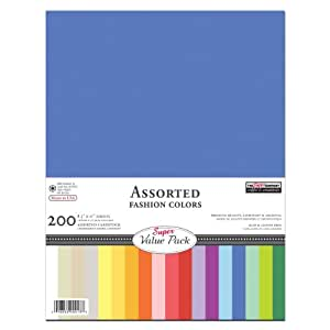 Paper Company Cardstock Super Value Pack Asst, 8-1/2-Inch-by-11-Inch 200-Pack, Assorted, 18 Colors