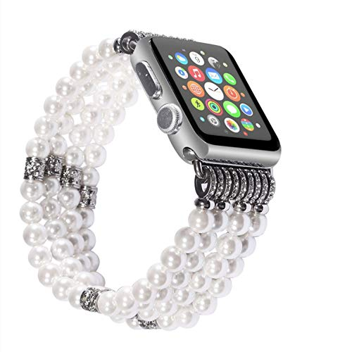 Solomo Bracelet Compatible for Apple Watch Band 42MM 44MM, Decorated Handmade Luxury Jewelry Faux Pearl Bracelet Elastic Stretch iWatch Strap with Women Wristband for Iwatch Series 4/3 /2/1 -