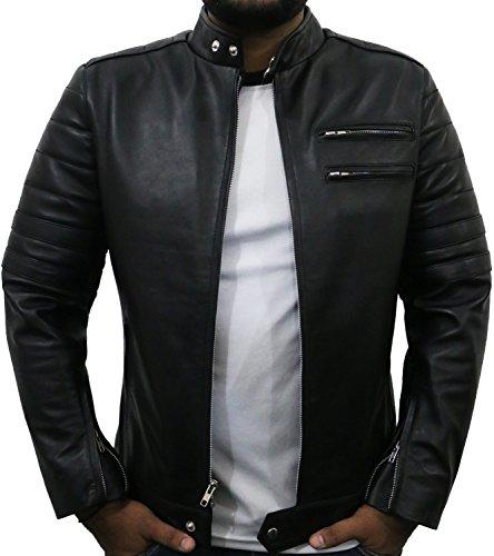 Laverapelle Men's Black-Black Genuine Lambskin Leather Jacket - 1510535- Medium