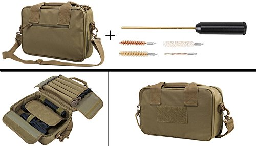 Tan Kimber 9mm .357, 38, .40, .45 Handgun Revolver Case Bag Holds 2 Pistols with 10 Single Double Stack Magazine Pockets + Compact Pocket Sized Travelling Cleaning Kit
